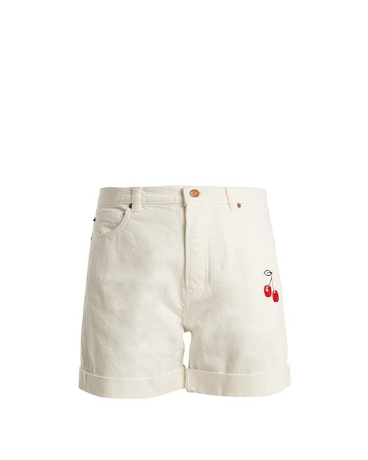 Bliss and Mischief | White Cherry-embroidered High-rise Denim Shorts | Lyst
