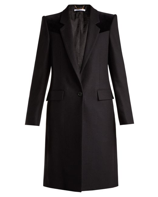 Givenchy - Black Velvet Trimmed Wool Blend Coat - Lyst