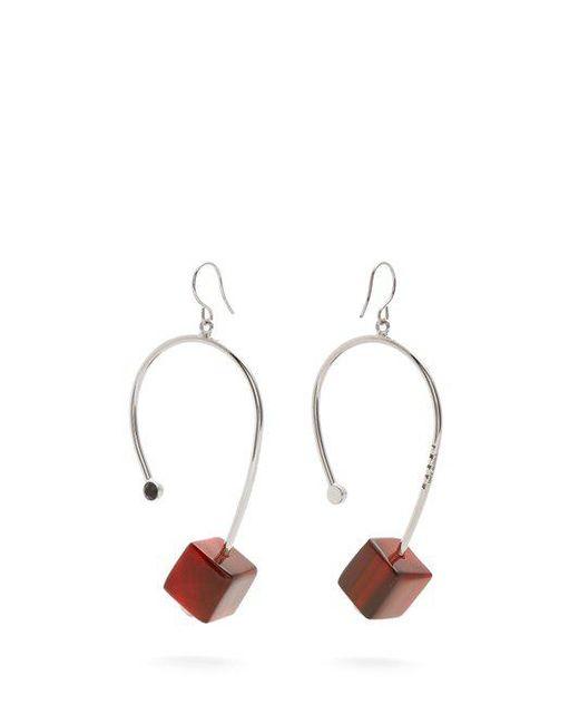 Marni - Red Cube Drop Earrings - Lyst