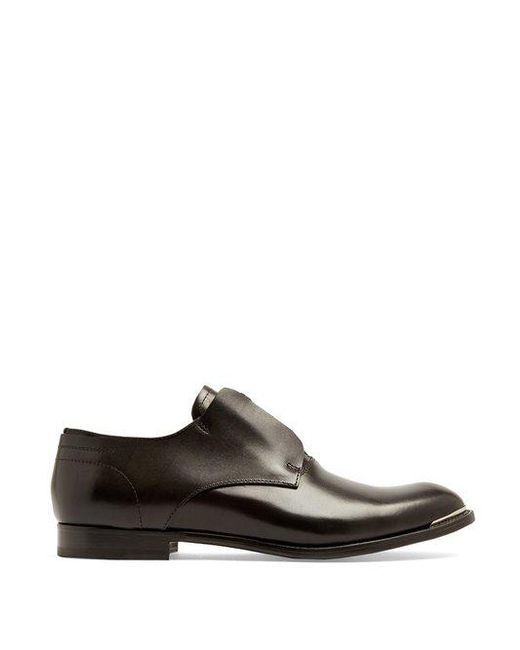 Alexander McQueen - Black Zip-front Leather Derby Shoes for Men - Lyst ...