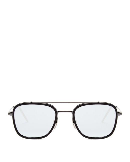 fd0210514158 Thom Browne - Black Mirrored Metal Aviator Sunglasses for Men - Lyst ...