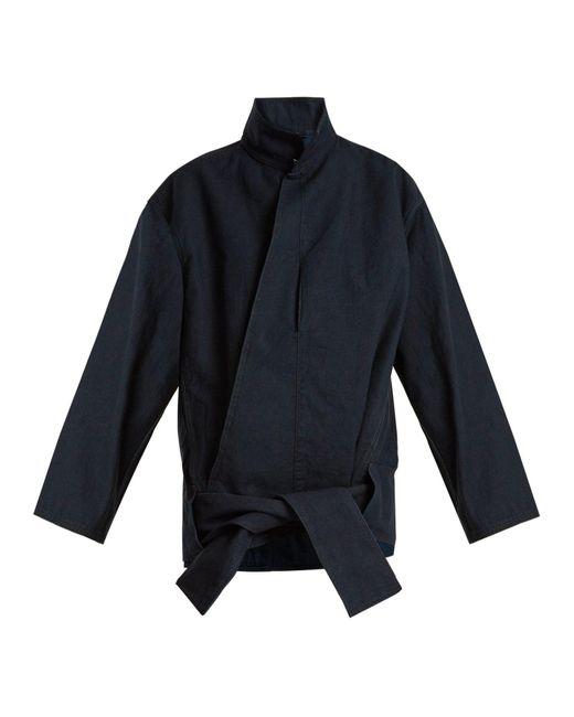 Lemaire - Blue High-neck Hemline-tie Denim Jacket - Lyst