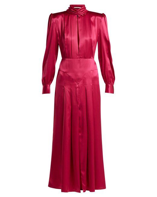 Alessandra Rich - Pink Pleated Panelled Silk Satin Dress - Lyst