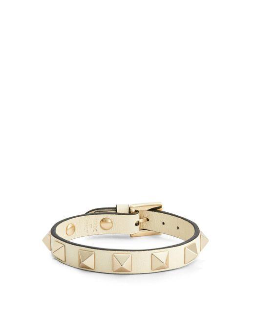 Valentino - White Rockstud Leather Bracelet - Lyst