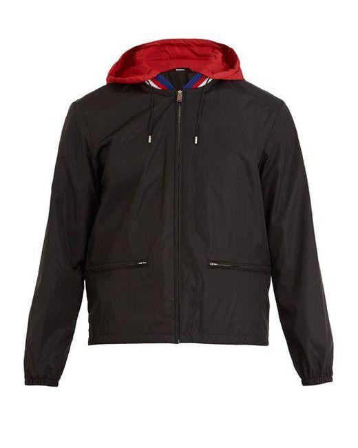 Gucci - Black Logo-print Hooded Technical Jacket for Men - Lyst