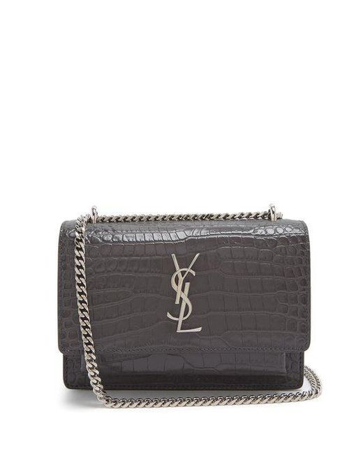 Saint Laurent - Gray Sunset Crocodile-effect Leather Cross-body Bag - Lyst