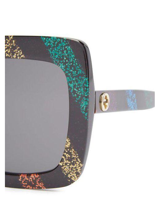 ... Gucci - Multicolor - Lunettes de soleil carrées en acétate à paillettes  - Lyst ea0beccf772e