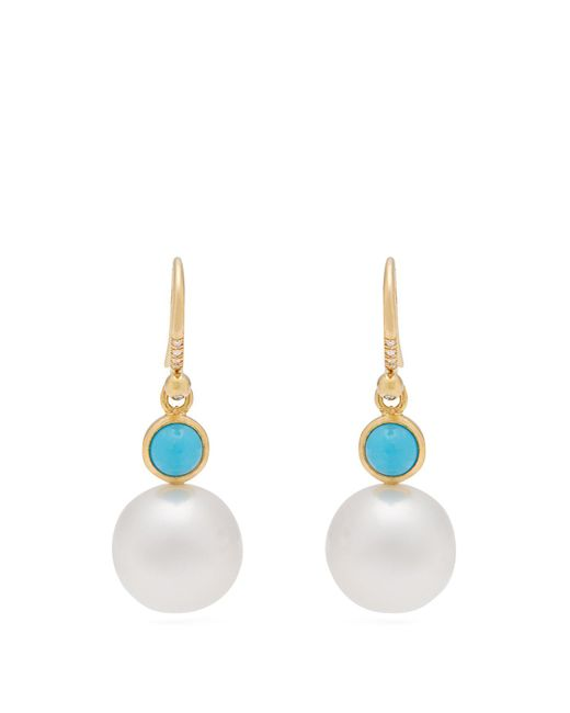 Irene Neuwirth - Blue Yellow Gold, Turquoise And Pearl Earrings - Lyst