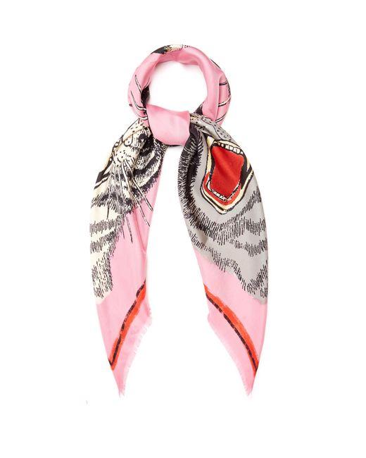 Gucci | Pink Tiger Face-print Silk-twill Scarf | Lyst