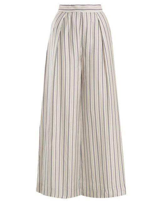 23784e008c Zimmermann - Gray Painted Heart Wide Leg Striped Satin Trousers - Lyst ...