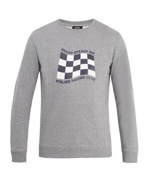 Cheap Sale Newest Really Cheap Shoes Online Racing flag-print cotton-jersey sweatshirt A.P.C. fgEnWun