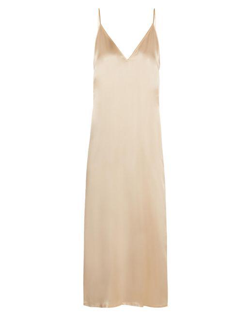 Raey   Metallic V-neck Silk-satin Midi Slip Dress   Lyst