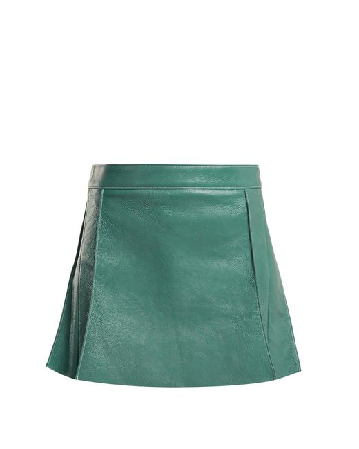Chloé - Blue Pleated Leather Mini Skirt - Lyst