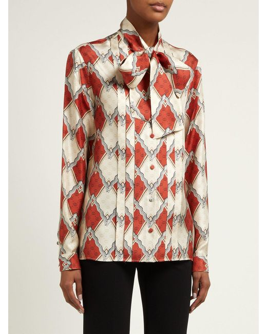 d44865058dc3a ... Gucci - Red Snake Rhombus Print Silk Twill Blouse - Lyst ...