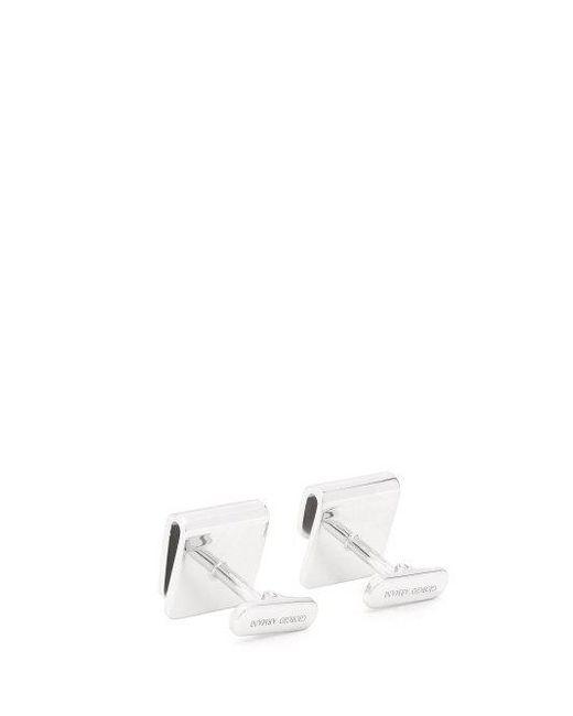Giorgio Armani Logo-engraved silver cufflinks e6WhzX