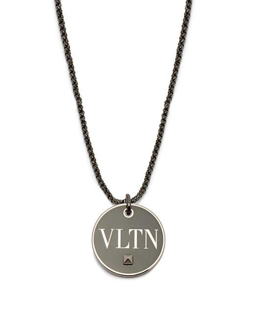 Valentino - Black Vltn Brass Pendant Necklace - Lyst