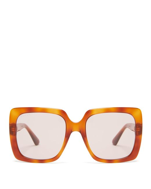 fcb7922d825 Gucci - Brown Crystal Logo Square Frame Acetate Sunglasses - Lyst ...