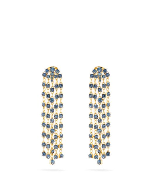 Oscar de la Renta | Blue Crystal-embellished Clip-on Earrings | Lyst