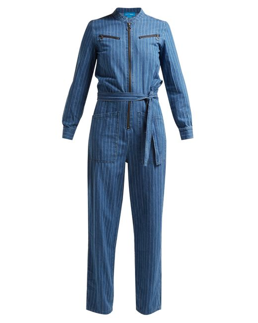 MiH Jeans - Blue Margot Pinstriped Cotton Chambray Jumpsuit - Lyst