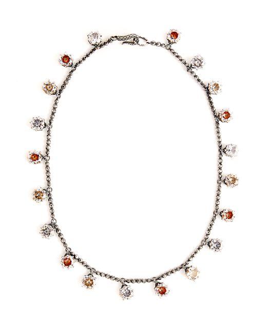 Bottega Veneta - Metallic Cubic-zirconia Oxidised Sterling-silver Necklace - Lyst
