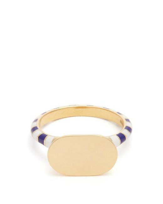 Jessica Biales - Blue Enamel & Yellow-gold Ring - Lyst