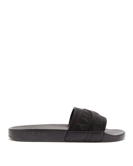 Givenchy - Black Logo Jacquard Cross Strap Rubber Slides for Men - Lyst