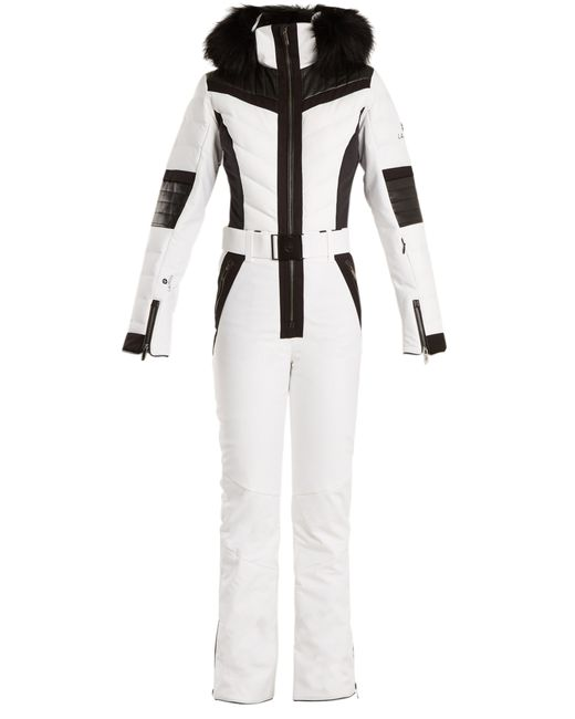 Lacroix - White Shine Fur Trimmed Bi Colour Technical Ski Suit - Lyst