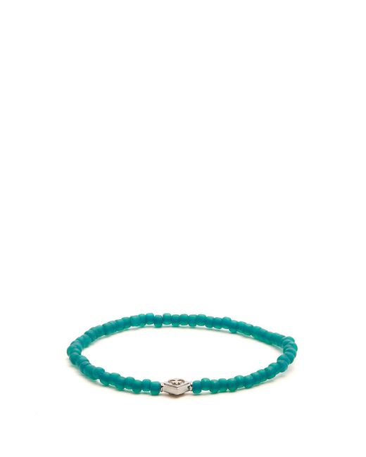 Luis Morais - Green Bead And White Gold Bracelet for Men - Lyst