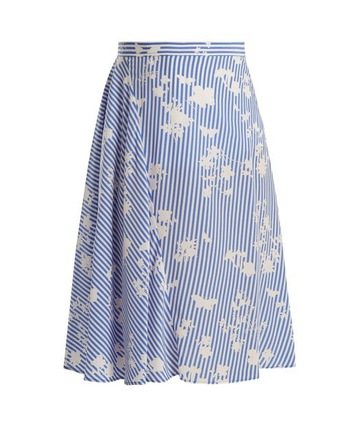 Altuzarra - Blue Sundew Stripe-print Fluted Midi Skirt - Lyst