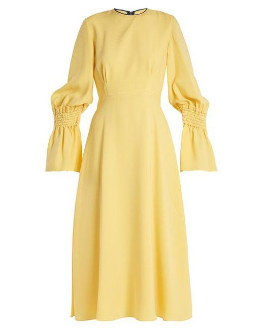 Duana Shirred Silk-georgette Midi Dress - Pastel yellow Roksanda Ilincic w2LgffkFp1