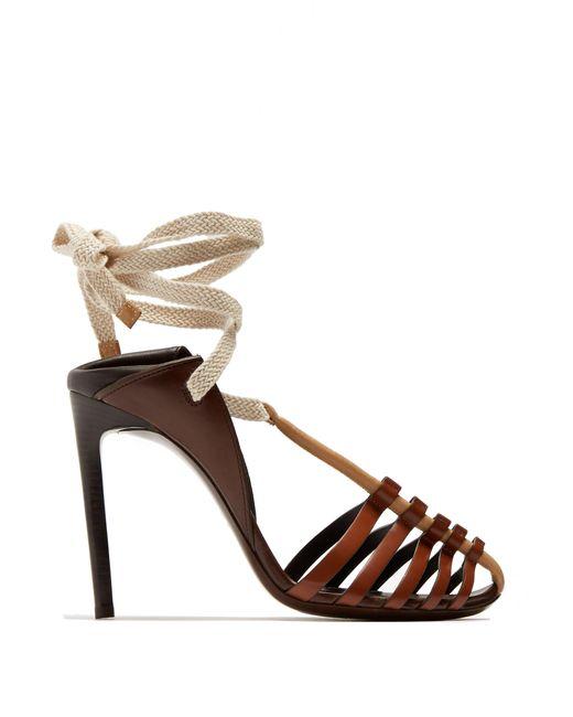 Saint Laurent - Brown Majorelle & Mansour Leather Sandals - Lyst