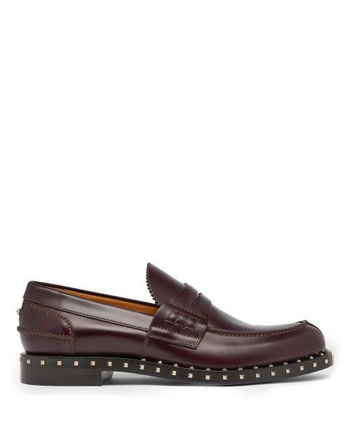 Valentino - Multicolor Soul Rockstud Leather Penny Loafers for Men - Lyst
