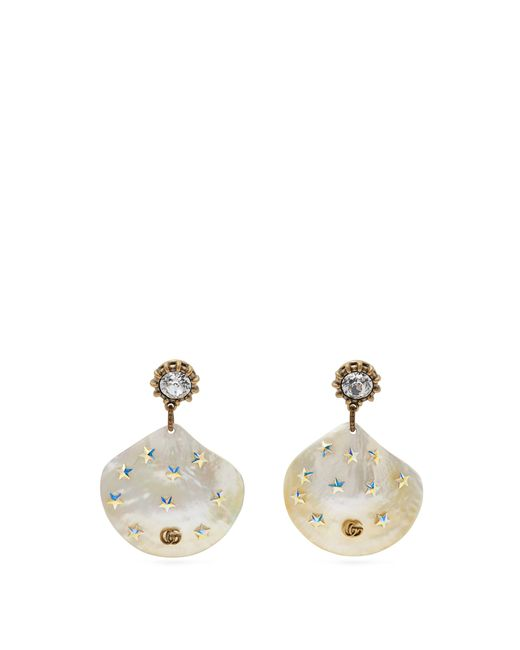 Gucci - Multicolor Gg Mother Of Pearl Drop Earrings - Lyst