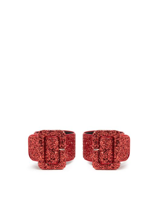 Attico - Red Glitter Embellished Ankle Straps - Lyst