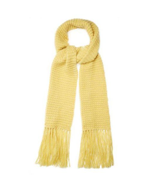 Stella McCartney - Yellow Fringed Wool And Mohair-blend Scarf for Men - Lyst