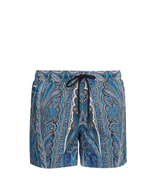 Etro - Blue Short de bain à imprimé cachemire rayé for Men - Lyst