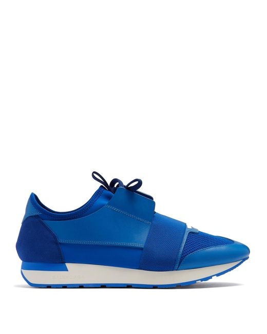 Balenciaga - Race Runner Blue Panelled Trainers for Men - Lyst
