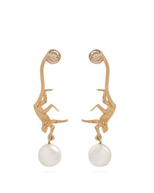 Marc Alary - Metallic 18kt Gold And Mother-of-pearl Leaf Earrings - Lyst