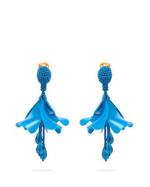 Oscar de la Renta - Blue Mini Impatiens Clip-on Earrings - Lyst