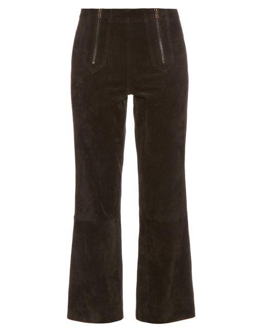 MiH Jeans | Black Arrow Suede Cropped Trousers | Lyst