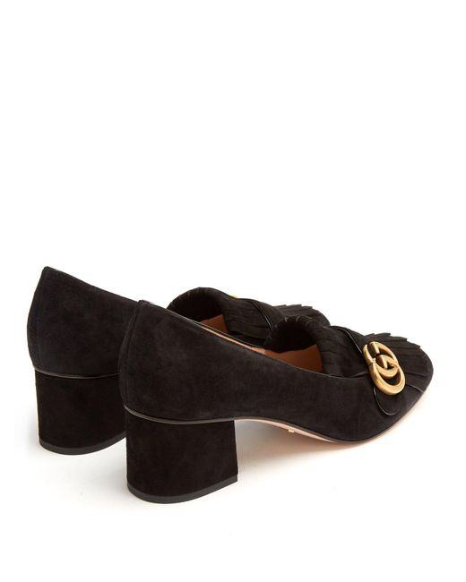 Lyst Gucci Marmont Fringed Suede Loafers In Black Save 6
