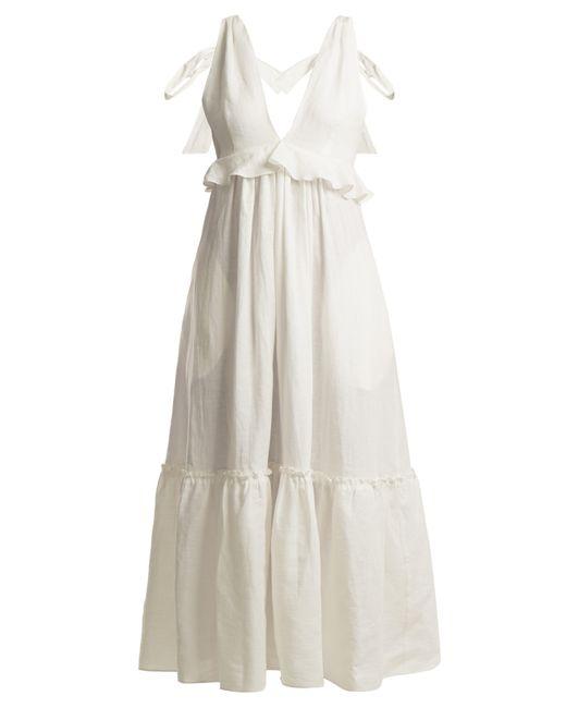 Three Graces London - White Lydia Tie Neck Linen Dress - Lyst