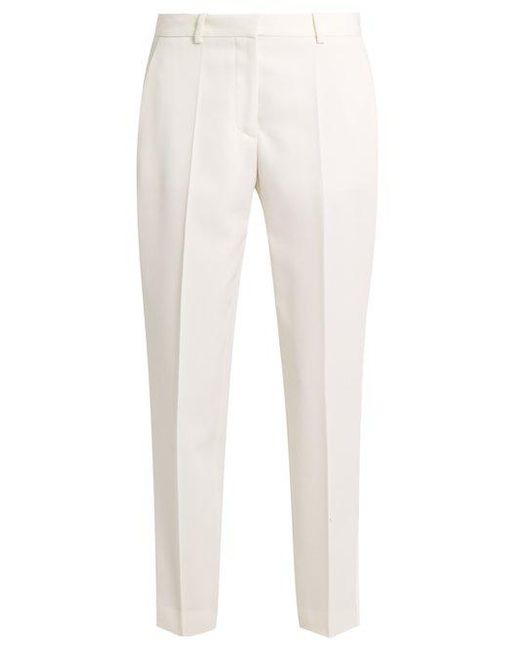 Stella McCartney - White Mid-rise Wool Cropped Tuxedo Trousers - Lyst
