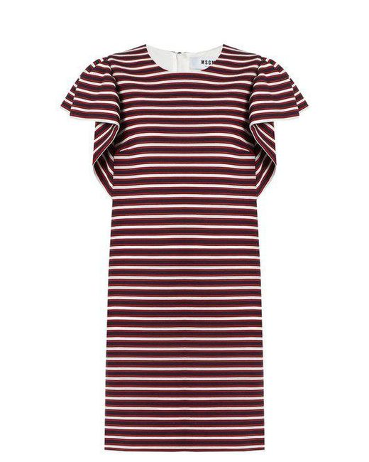 MSGM - Red Ruffled-sleeve Striped-panel Cotton-blend Dress - Lyst