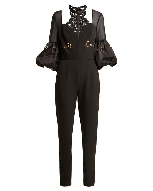 93f6a1bbfbe5 Self-Portrait Balloon Sleeve Lace And Crepe Jumpsuit in Black - Save ...