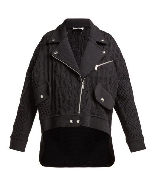 Sonia Rykiel - Black Cable Knit Biker Cardigan - Lyst