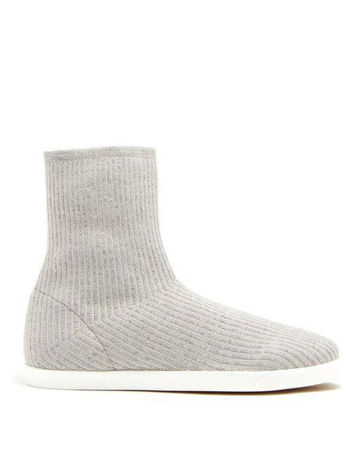 The Row - Gray Dean Ribbed-top Leather-trimmed Boots - Lyst