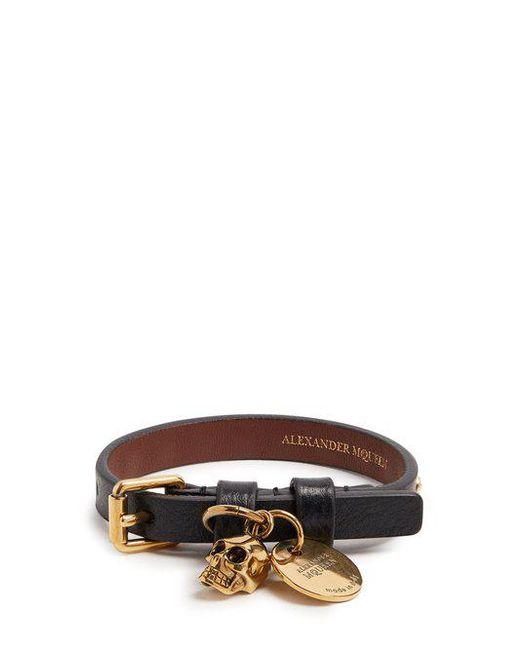 Alexander McQueen - Black Skull-charm Leather Bracelet for Men - Lyst