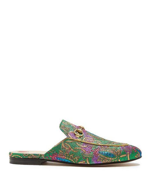 Gucci - Green Princetown Horsebit-detailed Metallic Jacquard Slippers - Lyst