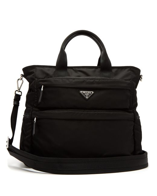 Prada - Black Double Pocket Nylon Tote for Men - Lyst